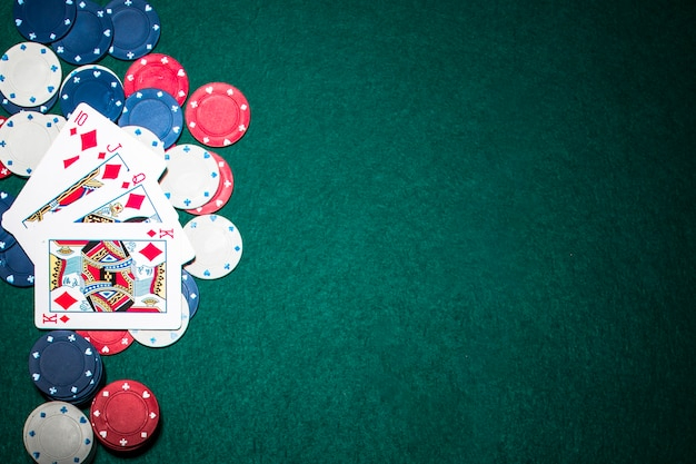 Royal Flush Playing Card On Casino Chips Over The Green Poker Background Nohat Free For Designer