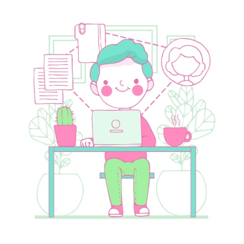 Illustration of young man telecommuting Free Vector