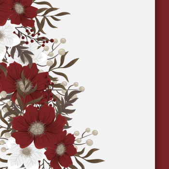 Fower page boarders - red, light blue, white flowers Free Vector png image transparent background