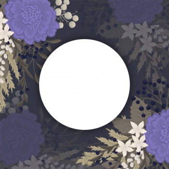 Dark flower background - blue flowers circle border Free Vector png image transparent background