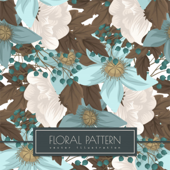 Mint green floral  seanless Free Vector png image transparent background