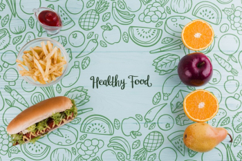 Flat lay composition of healthy and unhealthy food Free Psd