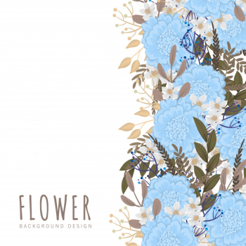 Flower border template  light blue flowers Free Vector png image transparent background