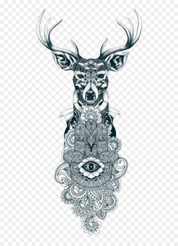 Reindeer Tattoo Drawing Gray wolf - Tattoo  png image transparent background