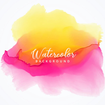 Yellow and pink watercolor stain background