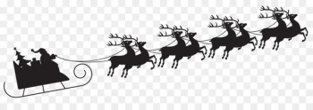 Santa Claus Reindeer Christmas Clip art - Sleigh Silhouette Cliparts  png image transparent background