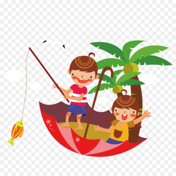 Fishing Euclidean vector - Children standing on fishing umbrella  png image transparent background