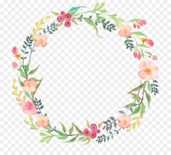 Watercolour Flowers Wreath Clip art - floral  png image transparent background
