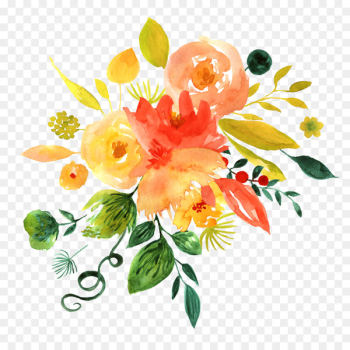 Floral design Watercolor painting Flower - Hand painted watercolor flower decoration pattern  png image transparent background