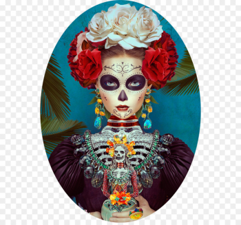 Frida Kahlo La Calavera Catrina Mexico Day of the Dead - painting  png image transparent background