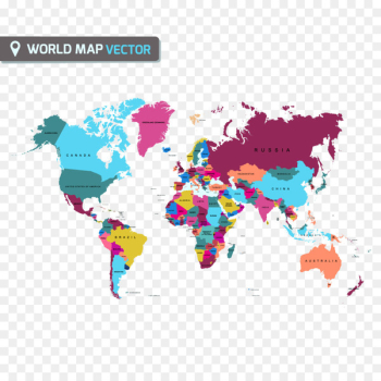 World map Globe - Flat color map of the world vector material  png image transparent background