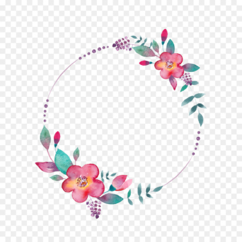 Watercolor painting YouTube - FLORAL CIRCLE  png image transparent background