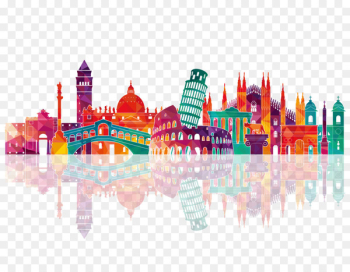 Italy Skyline Royalty-free Drawing - Colorful city silhouette  png image transparent background
