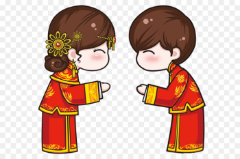 Chinese marriage Wedding - Cartoon Chinese wedding men and women  png image transparent background