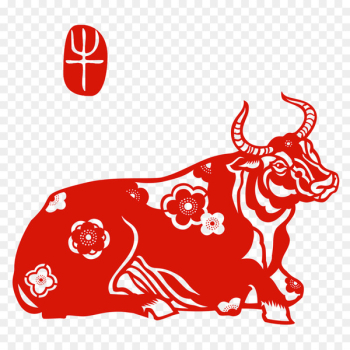 Chinese paper cutting Chinese zodiac Papercutting Ox Chinese New Year - Chinese New Year  png image transparent background