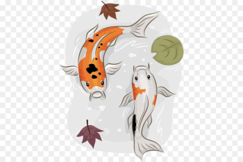 Goldfish Ornamental fish - Hand painted Pisces swimming  png image transparent background