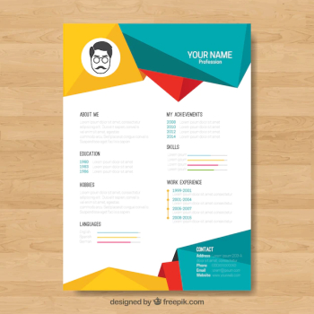 Curriculum template with colorful geometric shapes