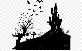 Housewarming party Halloween Wedding invitation Moving party - Vector black silhouette haunted house  png image transparent background