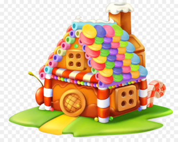 Gingerbread house Cupcake Sweetness Candy - Colorful cartoon cabin  png image transparent background