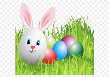Easter Bunny Domestic rabbit Clip art - Easter Grass with Bunny Egg PNG Clipart Image  png image transparent background