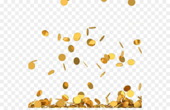 Coin Stock photography Royalty-free Clip art - The gold coins falling down in the sky  png image transparent background