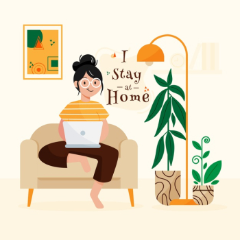 Stay at home concept Free Vector