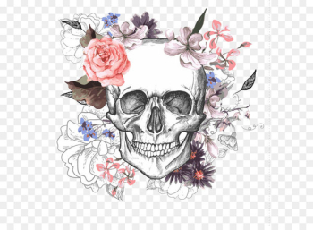 Calavera Skull Flower Day of the Dead - Skull with flowers  png image transparent background