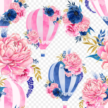 Hot air balloon Watercolor painting Clip art - Flower Hot Air Balloon  png image transparent background