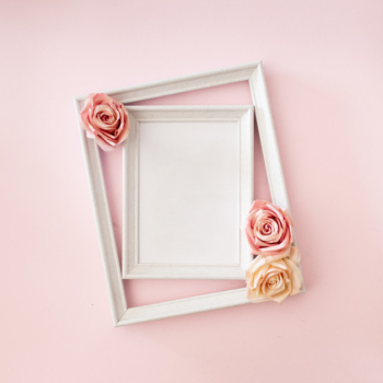 Wedding photo frame with roses