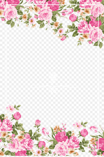 Wedding invitation Paper Flower Rose Pink - Pink roses border  png image transparent background