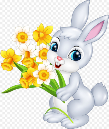 Easter Bunny Cartoon Rabbit Illustration - A little rabbit with a flower  png image transparent background