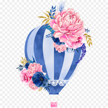 Watercolor painting Hot air balloon Watercolour Flowers - watercolor balloon  png image transparent background