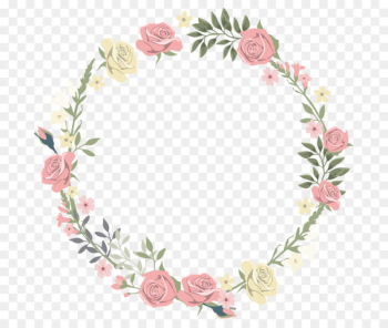 Wedding invitation Picture frame Flower Watercolor painting - Rose decorative circular border  png image transparent background