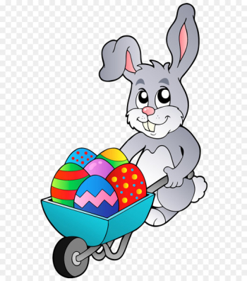Easter Bunny Easter egg Rabbit Hare - Transparent Easter Bunny with Egg Cart PNG Clipart Picture  png image transparent background