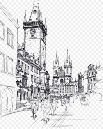 Old Town Square Charles Bridge Sketch - Europe and the United States drawing free drawing free  png image transparent background