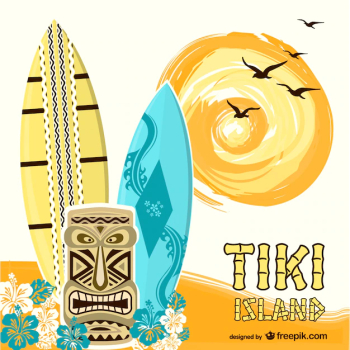 Tiki island background with surf boards