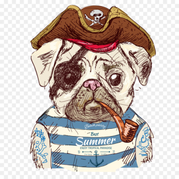 Pug Drawing Illustration - Cute pirate dog  png image transparent background