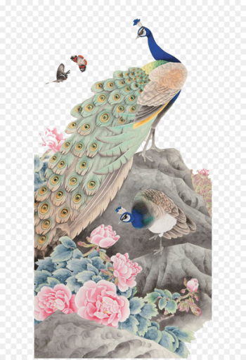 Watercolor painting Canvas Art Silk - peacock  png image transparent background