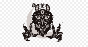 The Werewolves of Millers Hollow Logo - Black and white wolf people kill flag vector can be edited  png image transparent background