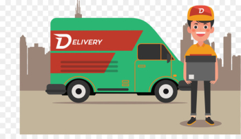 Delivery Courier - Vector of delivery truck  png image transparent background