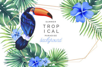 Tropical paradise background with golden frame Free Vector
