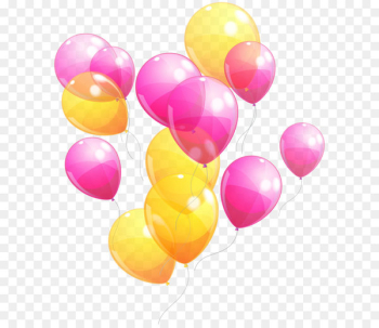 Balloon Party Pink Yellow Baby shower - Pink and Yellow Balloons Bunch PNG Clipart Image  png image transparent background