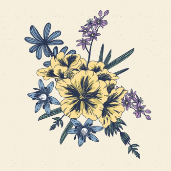 Vintage style floral bouquet Free Vector