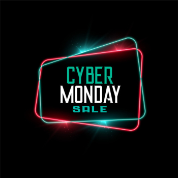 Cyber monday sale in neon frame style banner Free Vector