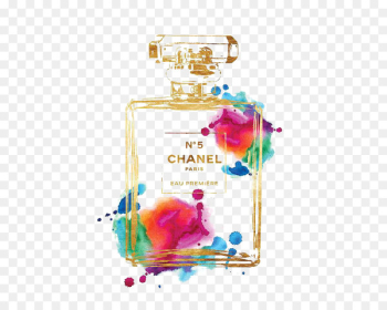 Chanel No. 5 Perfume Watercolor painting Poster - Drawing Chanel  png image transparent background