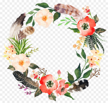 Wedding invitation Wreath Flower Watercolor painting Garland - Sen Department feather wreath of flowers  png image transparent background