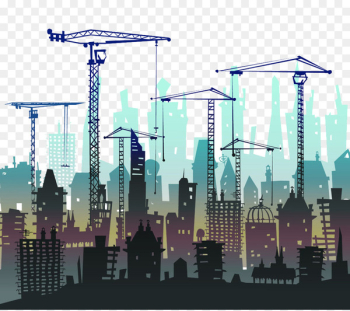 Architectural engineering Building Heavy equipment Shutterstock - Crane and Construction Silhouette  png image transparent background