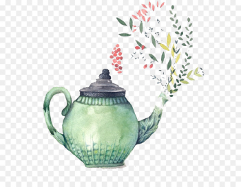 Teapot Watercolor painting Bridal shower Teacup - Hand painted watercolor teapot  png image transparent background