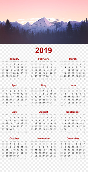 2019 printable calendar - mountain nature design.p - others  png image transparent background