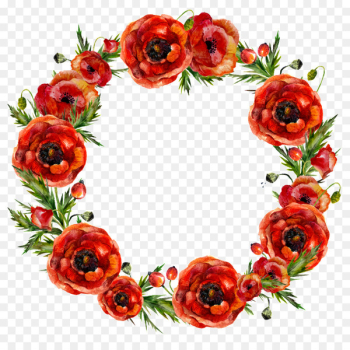 Garland Flower Red Wreath - Red flowers garland  png image transparent background